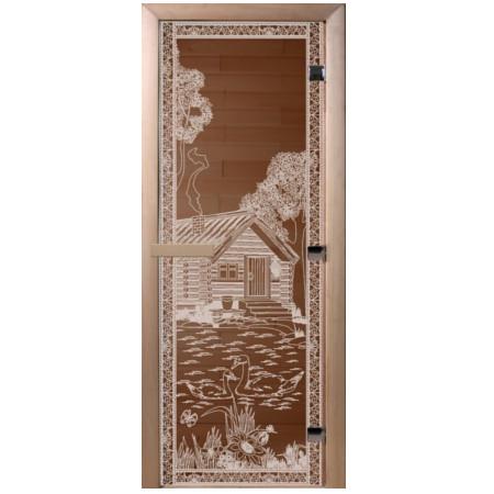 Дверь стеклянная DoorWood 70*190 «Банька в лесу» Бронза